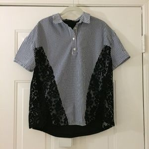 Zara navy/white strip shirt with black lace